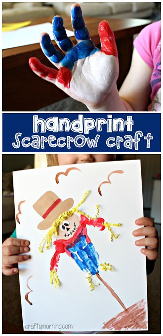 Handprint Scarecrow Craft #Fall craft for kids to make | CraftyMorning.com