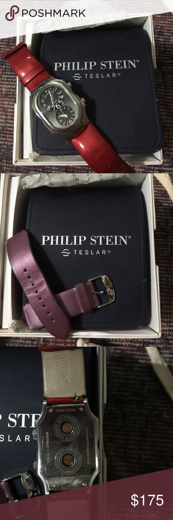 Philip Stein women's large face watch w/2 straps The amazing healing Philip Stein watch, back face with 2 paid of adjustable straps. Copper healing energy, box and instruction manual. These straps are short but ordering extra straps and putting them on yourself is easy. Needs a battery., Philip Stein Teslar Accessories Watches