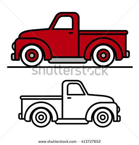 Two cartoon vintage pick-up truck outline drawings, one red and one black and white, in side view, vector illustration