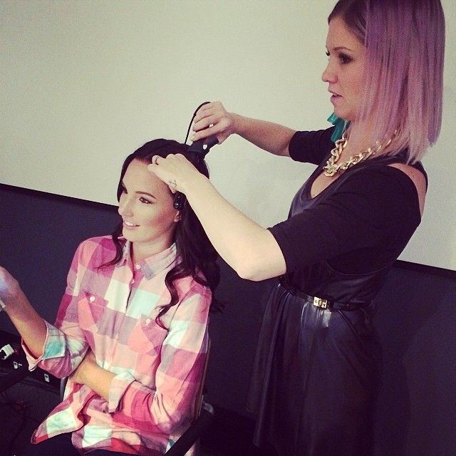 Host Tamerin Jardine and Pulse Salson Stylist Jenna prepping Tamerins hair