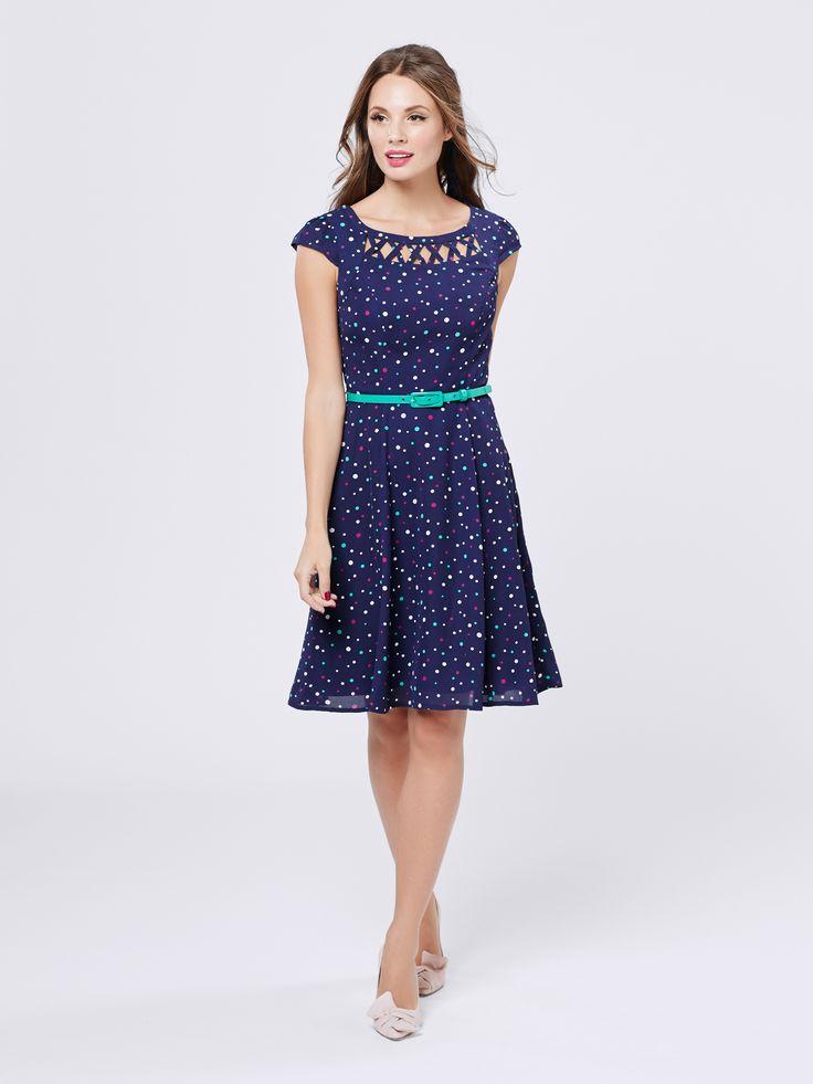 Jubilee Spot Dress | Navy & Multi | Skirt