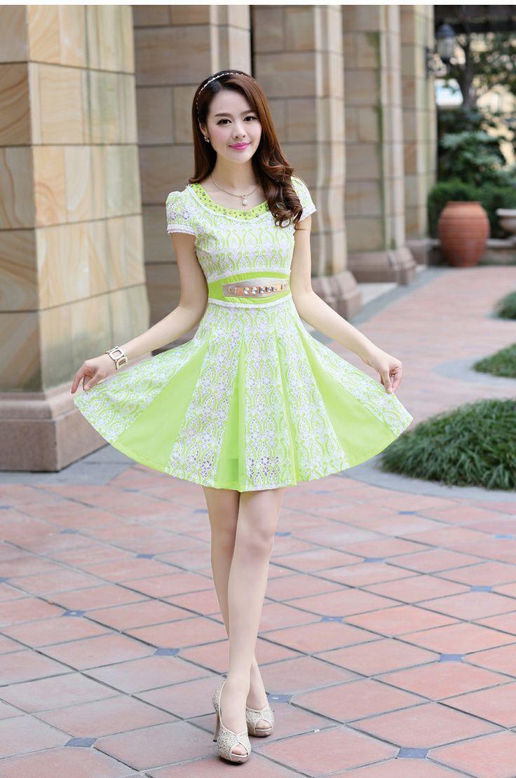 Short Sleeve dress, Lace Dress, Diamond Waist, YRB, 0456, Asian fashion, korean fashion, online asian store, asian dress online, light green...