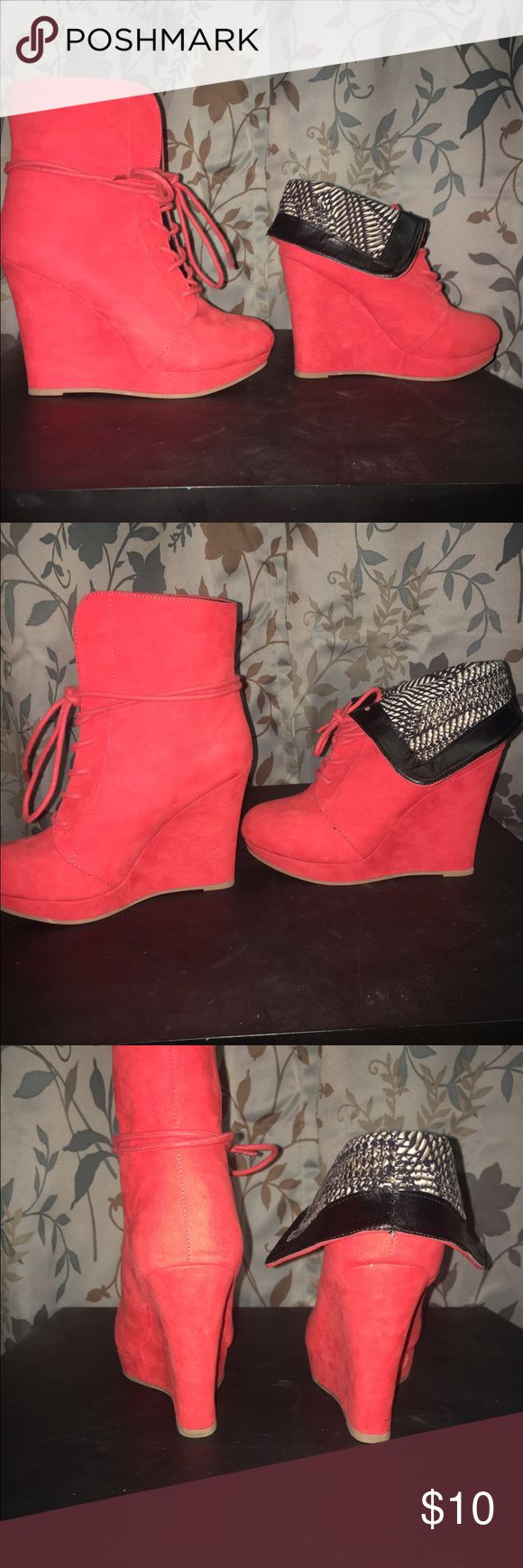 Burnt orange wedge booties. Burnt orange wedges. Only worn twice! Fold down flap to get a whole new look. No scuffs, almost like its brand new. Shoes Wedges