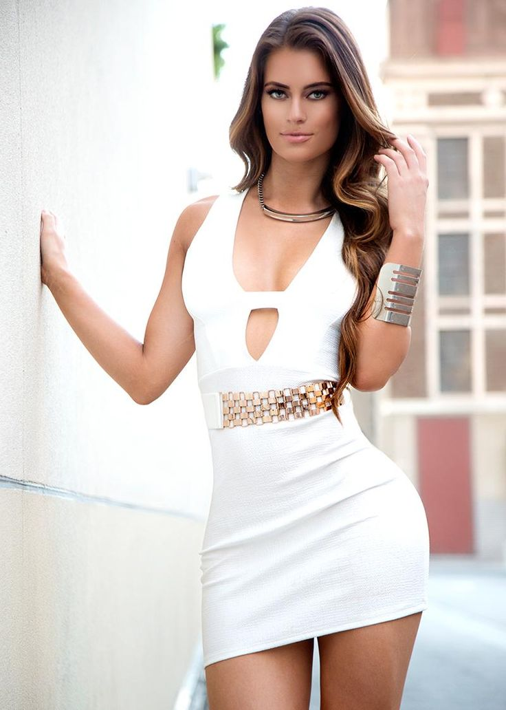 Hannah Stocking in a White Mini Dress with Plunging Neckline   Perfect ...