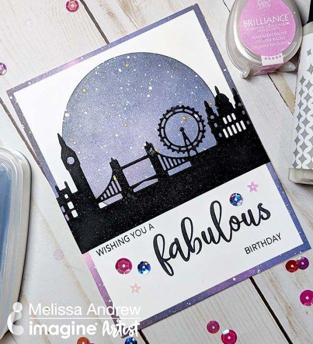 Create A London Night Sky Birthday Card Using Versamagic And Brilliance Dew Drop Happy Birthday Card Unique Birthday Cards Inspirational Cards London Night