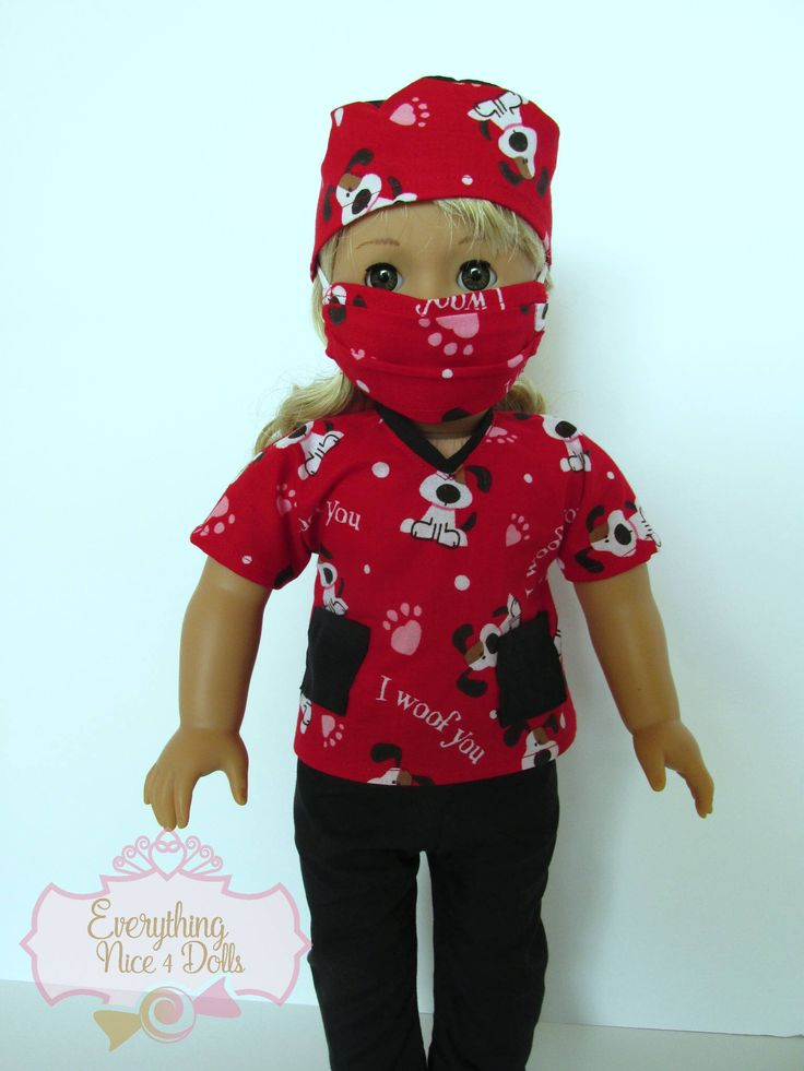 Valentine Hearts Dogs Pet Vet Scrubs, fits 18 inch dolls like American Girl Dolls, red scrubs top, black pants, mask, hat, handmade scrubs by EverythingNice4Dolls on Etsy https://www.etsy.com/listing/572454668/valentine-hearts-dogs-pet-vet-scrubs
