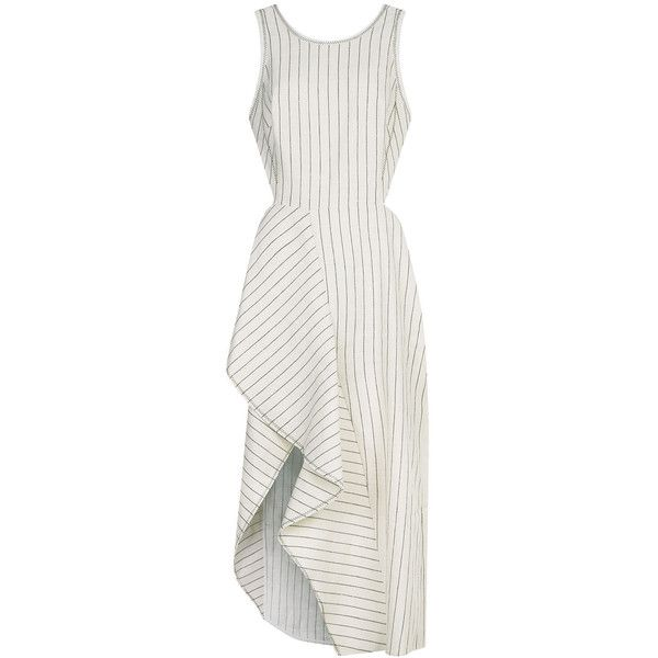 3.1 Phillip Lim Ecru Linen Pinstripe Cutaway Dress found on Polyvore featuring dresses, midi dress, flutter-sleeve dress, flounce dress, white scoop neck dress and white midi dress