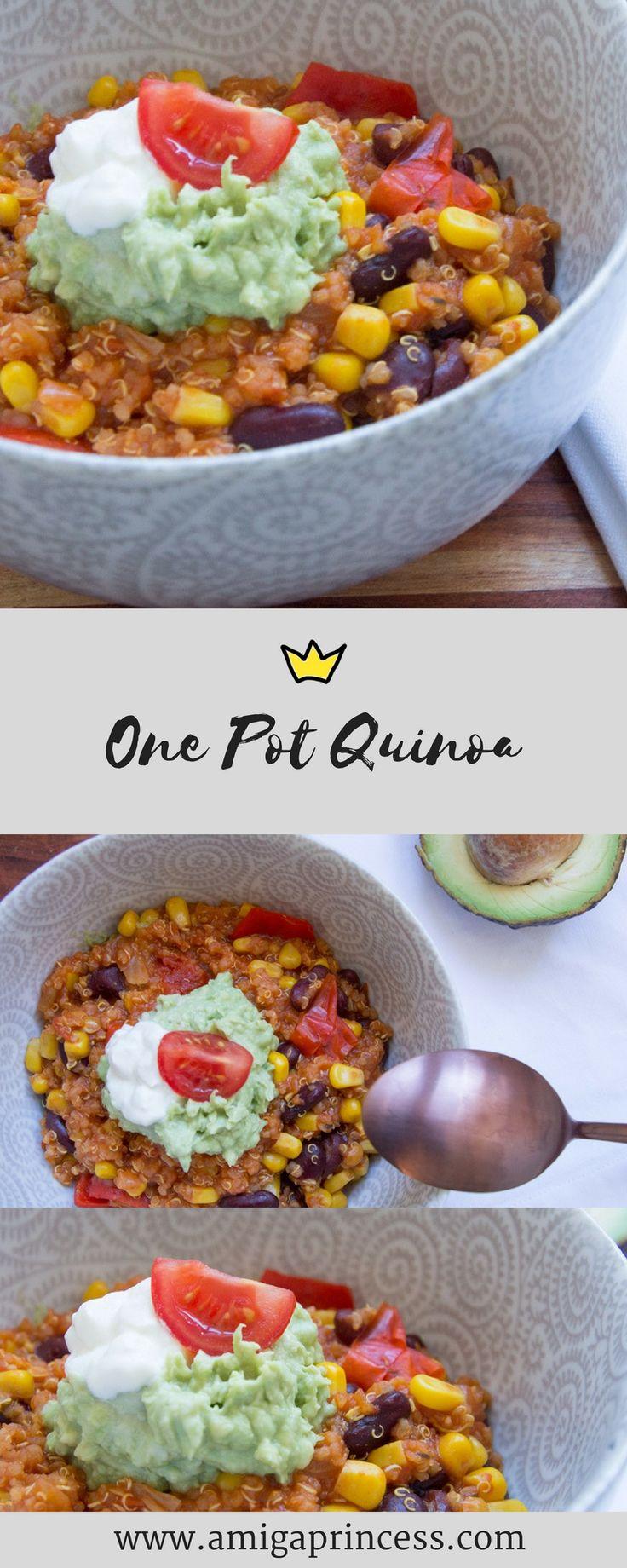 One Pot Quinoa, mexikanisch, chili sin carne, mexican style, inspo, idea, veggie, vegan, beans, corn, bohnen, eintopf, guacamole, tomatoes, einfach und schnell, quick, rezept, recipe, amigaprincess