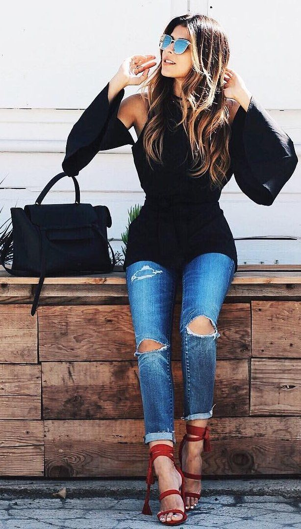 Shoulderless Black Top + Ripped Jeans                                                                             Source