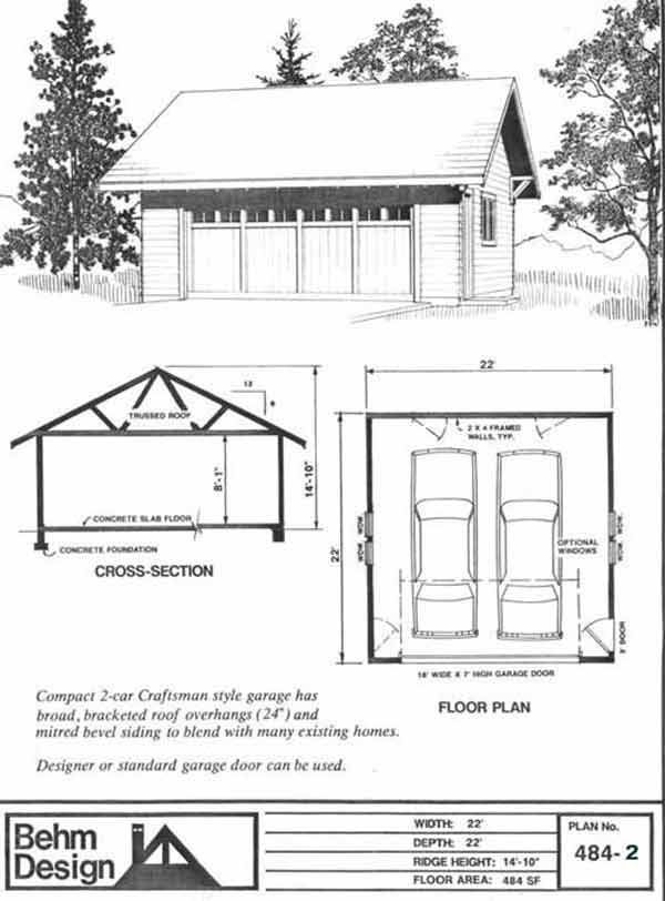 Basic 2 Car Garage Plan With One Story 484 2 22 X 22
