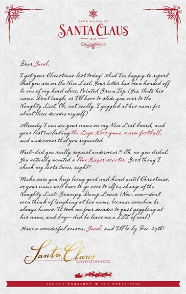 36 best Printable Santa Letters images on Pinterest Letter - microsoft word santa letter template