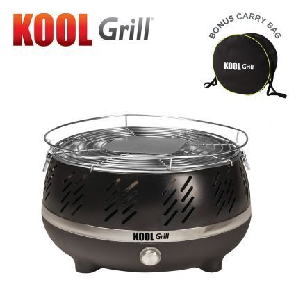 Portable, safe and cool to the touch charcoal BBQ Grill that's ready in minutes!