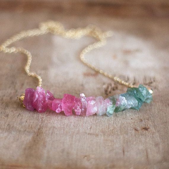 Watermelon Tourmaline Necklace, October Birthstone, Raw Crystal Jewelry, Ombre Necklace, Multi Tourmaline Necklace, Tourmaline Jewellery