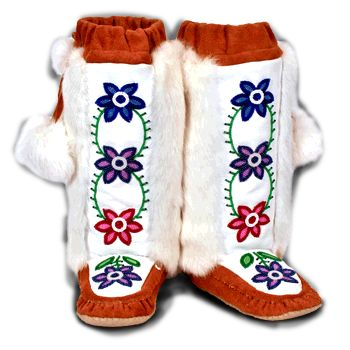 Rosa Scribe Mukluk 3 (Norway House Cree Nation) Made with Cow hide, rabbit fur, and beads - Shown at Manitobah Mukluks