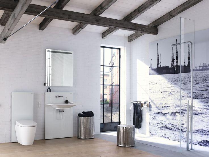 El diseño del baño con Geberit permite hacer volar la imaginación. Una ducha que desagua por la pared y la elegancia de la cisterna vista Geberit Monolith con el nuevo inodoro-bidé Geberit AquaClean Sela al suelo consiguen el baño de tus sueños.