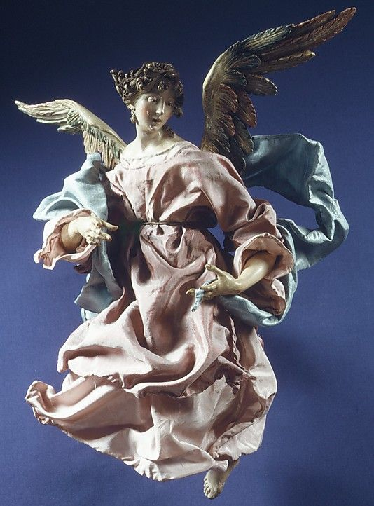 Angel Attributed to Giuseppe Sanmartino (Italian, 1720–1793) Date: 18th century Culture: Italian (Naples) Medium: Polychromed terracotta head; wooden limbs and wings; body of wire wrapped in tow; various fabrics. Dimensions: H. 16 1/4 in. (41.3 cm.)