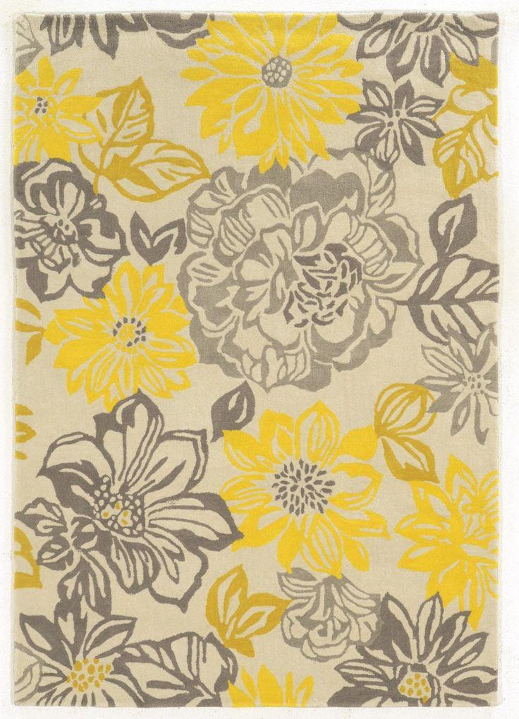 El-Kubra Hand-Woven Grey & Yellow Area Rug