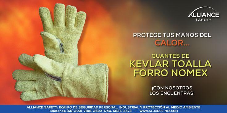 Protege tus manos de riesgos provocados por altas temperaturas #calor: Guantes de Kevlar Toalla con Forro Nomex. ¡Llámanos! Con gusto te atenderemos.