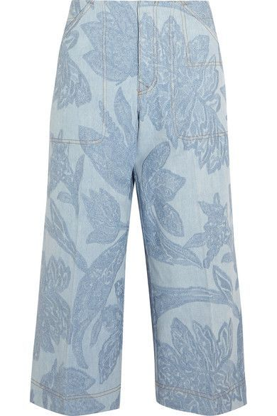 Acne Studios - Texel Cropped Embroidered Denim Wide-leg Pants - Light blue - FR