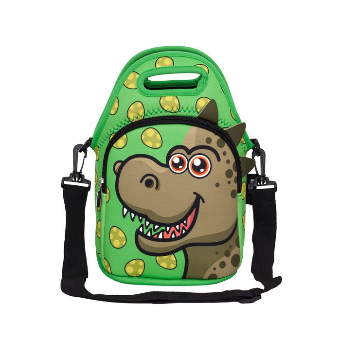 Cool, funny dinosaur print bag great for a boys school lunch bag. Different pockets allow lots of space for food/snacks, also comes with an adjustable strap in order to fit your toddler perfectly.