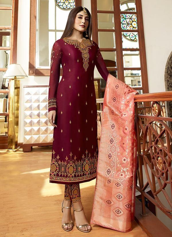 11b3087742 Embroidered Satin Georgette Salwar Suit in Maron in 2019 | Salwar ...