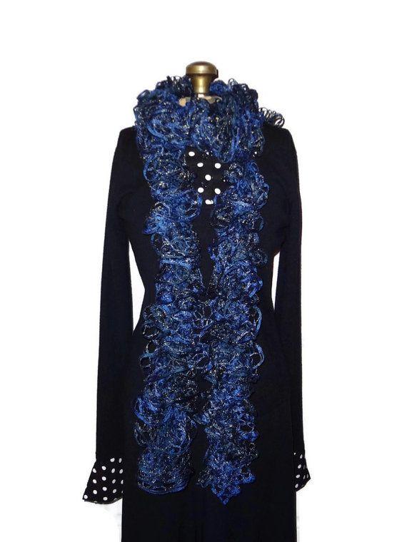 #Ruffle #Scarf Navy & Sparkle Handmade Knitted by chrysalisjewelrytx, $22.99