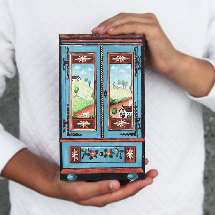 Wooden hand painted miniature armoire.  Made by Studio #TalkFolk
