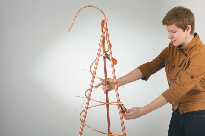 Using wire to tie copper tubing together for use in a DIY copper coil garden trellis