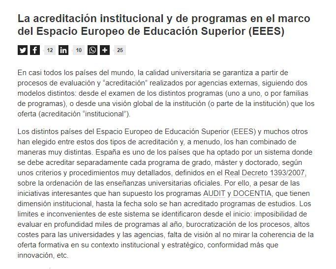 La acreditación institucional y de programas en el marco del Espacio Europeo de Educación Superior (EEES) / @universidad_si | #readyforhighereducation #readyforEUrope