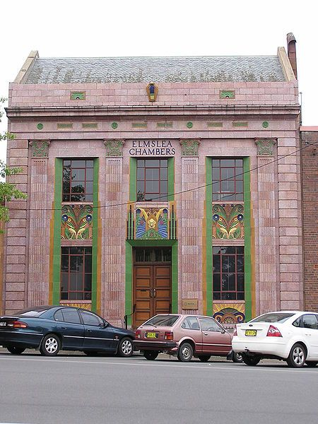 Elmslea Chambers in Goulburn, New South Wales, Australia - built in 1933, it was one of the first buildings in Australia to use coloured polychrome terracotta in its façade which features a fine relief of birds, flowers, leaves and typical Art Deco sunbursts under the windows.