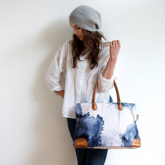 Midnight Ink - Wide - Digitally Printed Cotton Tote Bag with Leather Details