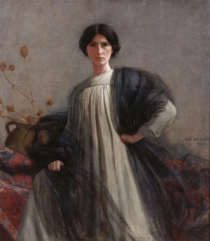 Живопись маслом. Alfred Agache (1843-1915), Portrait de Femme (La Femme aux Chardons) - 1905