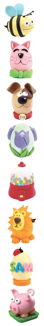 Easter Eggs:  Hard boiled eggs decorated with colored fondant. (Pic only.)