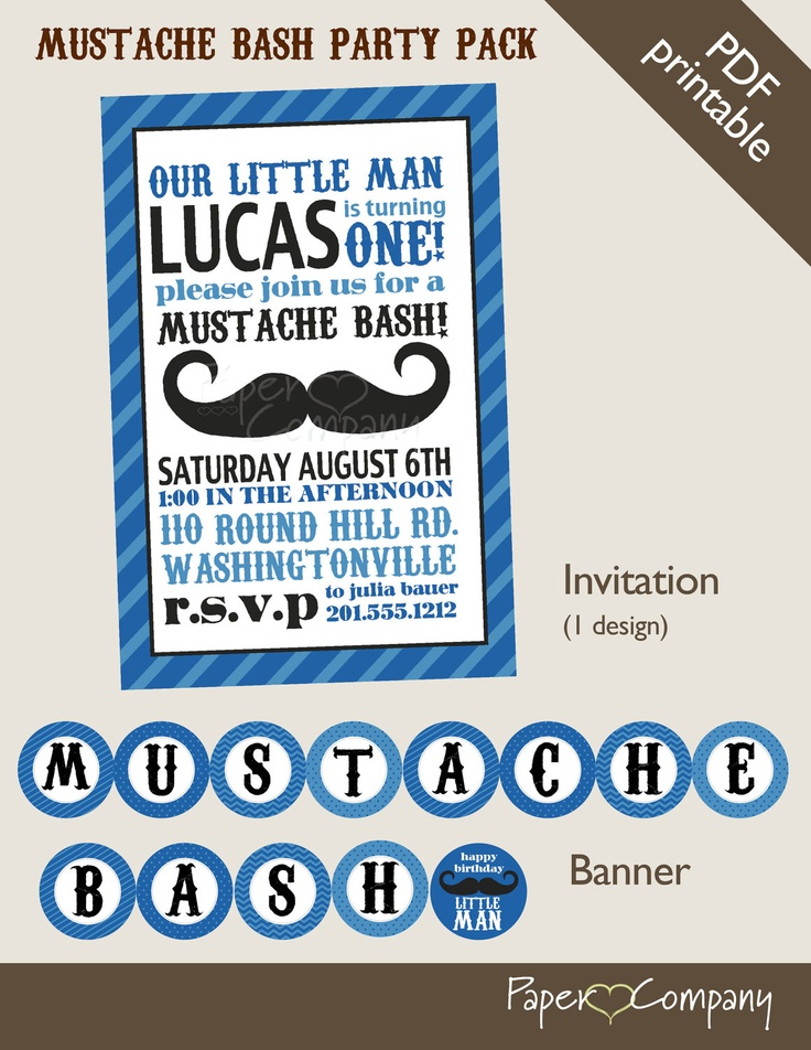 MUSTACHE BASH Little Man 1st Birthday Boy Party Package Event Printable diy Customizable. $40.00, via Etsy.