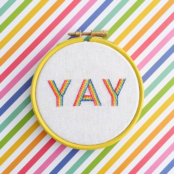 "This super sweet little 4"" (10cm) hoop would make the perfect gift for someone - say congratulations, well done or send for another happy occasion. Or treat yourself to some happy vibes! The hoop is ready to display, either on a wall or on a shelf of your home."