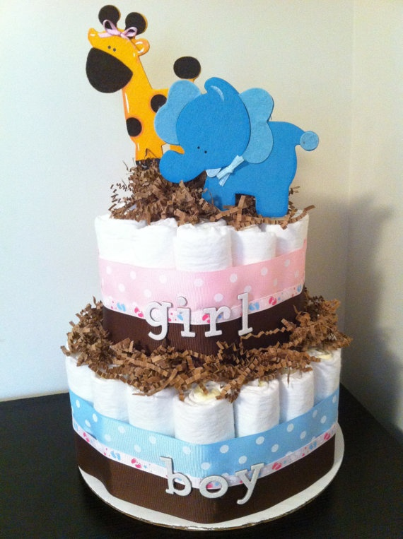 Gender Reveal Diaper Cake Gender Reveal by BabeeCakesBoutique, $45.00