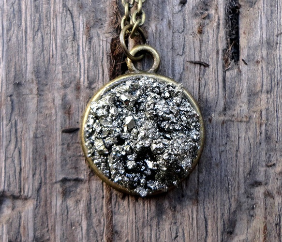 Pyrite Disc Necklace. $10.00, via Etsy.