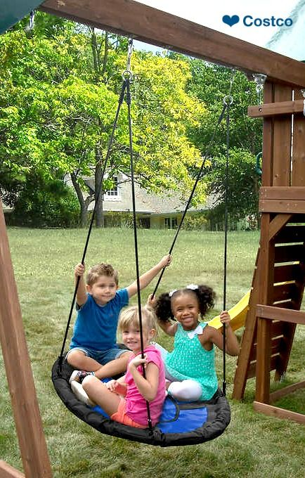 The Kids Creation Blue Nest Swing will create a unique swinging experience from sunrise to sunset. Outfitted on a sturdy steel frame, the fabric is heavy-duty, yet soft to the touch to provide a comfortable ride. The unique design promotes teamwork and social skills as children playfully work together to reach high into the sky.