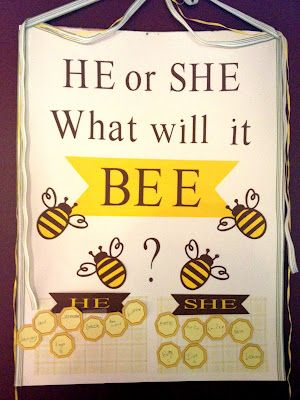 """What will it Bee"" themed gender reveal ( or cute ideas for a bee-themed baby shower)"