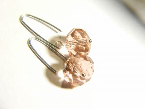 Antik pink kristály fülbevaló egyszerűen, Ékszer, óra, Fülbevaló, Meska