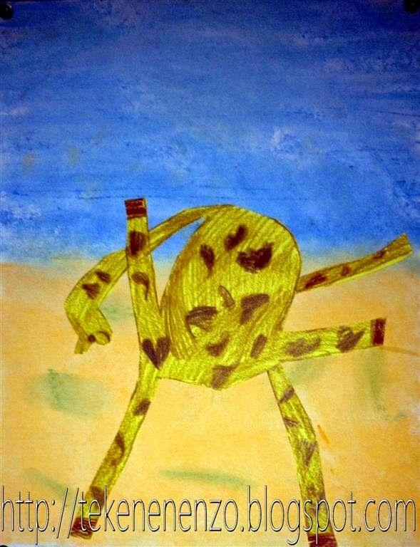 Hoort bij het boek: 'Een giraf kan niet dansen' van Giles Andeae en Guy Parker-Rees. Benodigdheden: wit tekenpapier pastelkrijt oliepastels schaar lijm Vertel het verhaal over Gerard de Giraf. Bespreek hoe je een giraf herkent: lange nek, vlekken, kleuren. Hierna tekenen de kinderen een giraf die probeert te dansen. Inkleuren met oliepastel. Kleur op een tweede vel tekenpapier een achtergrond met pastelkrijt. Knip de giraf uit en plak hem op de achtergrond.