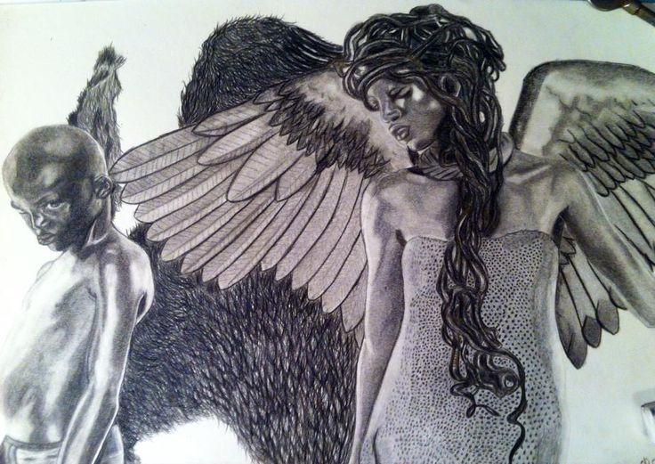 Nouveau dessin la couleur des anges fait sur papier canson aux crayons de couleurs tirés des pochettes d album de youssoupha NGDR et noir desir prit par le photographe Fifou merci a tous de votre soutien