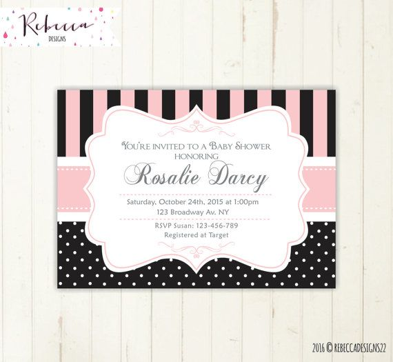 black and white baby shower invite baby shower by RebeccaDesigns22