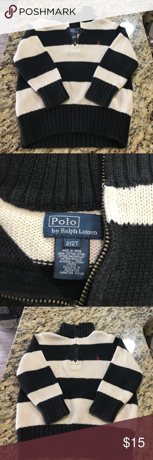 Polo by Ralph Lauren Striped Zip-Up Polo by Ralph Lauren Striped Zip-Up Sweater. Worn but still in excellent condition. Navy and cream stripes. Polo by Ralph Lauren Shirts & Tops Sweaters