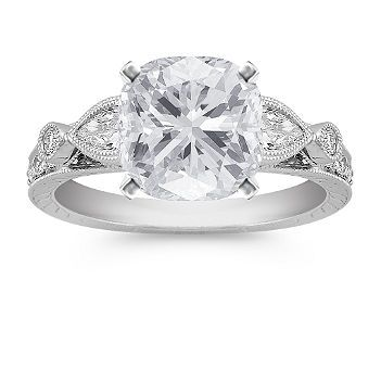Vintage Engagement Ring with Cushion Cut Diamond