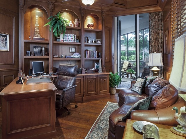 traditional home office den dark wood leather sofa trieste bay colony naples