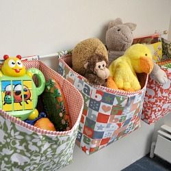 Hanging fabric baskets, you can make them any size, hang on the wall, and fill them up. Step by step tutorial