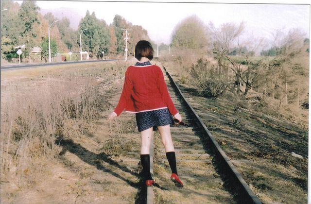 #girl #portrait #dress #shorthair #polkadots #landscape #film #analog #35mm #fujifilm #zenit12xp