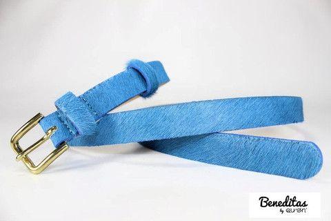 Beneditas - 30372/00 - Cinto 20 mm de pêlo azul