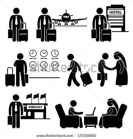 Business Trip Businessman Travel Meeting Stick Figure Pictogram Icon
